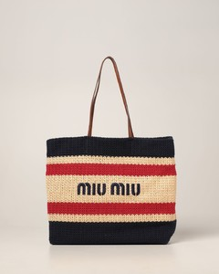 shoulder bag in woven raffia and cotton