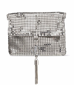 metallic tassel-trim clutch bag