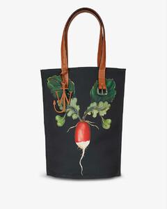 Radish-print recycled canvas tote bag