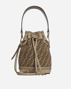 Mon Tresor mini FF suede and leather bucket bag
