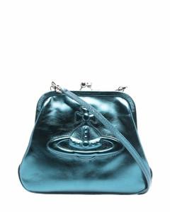 embossed-logo leather shoulder bag