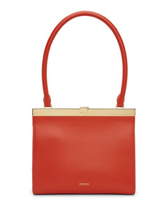 Small camera-style bag in saffiano leather with an adjustable, logo crossbody strap.