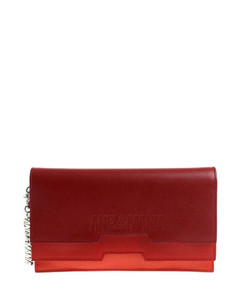 Grainy leather clutch