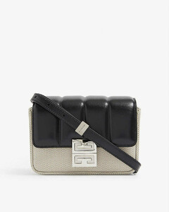 4G small padded leather and canvas cross-body bag