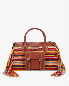 Edith striped recycled cashmere and leather top-handle bag