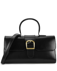 1.1 large black leather top handle bag