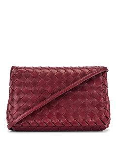 Leather Woven Crossbody Bag in Purple