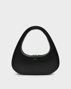 Swipe Baguette Bag In Black Leather