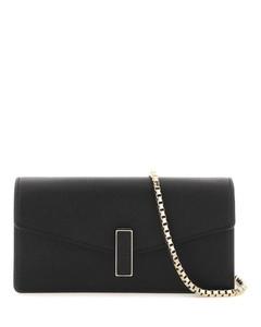 Dark brown leather small Rockstud shoulder bag