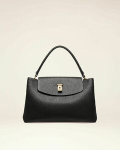Leather Top Handle Bag In Black
