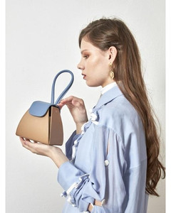 COLOR BLOCK HANDLE BAG BEIGE