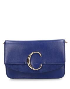 Handbag CHLOÉC Calfskin Suede logo metalic blue