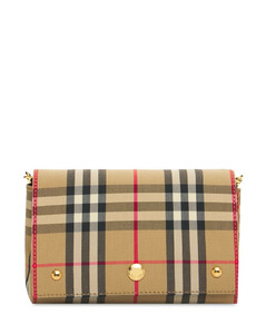 Hackberry Check & Leather Shoulder Bag