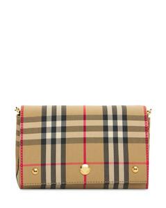 Hackberry Check & Leather Shoulder Bag