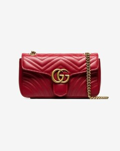 red GG Marmont small leather shoulder bag