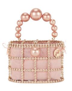 Holli pink crystal-embellished top handle bag