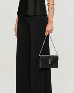 Monogram leather chain wallet
