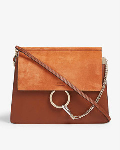 Faye suede and leather satchel