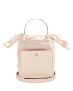 Nano Knot leather and satin bucket bag
