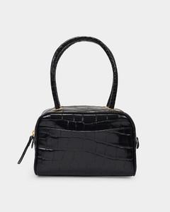 Martin Bag In Black Croc Embossed Leather
