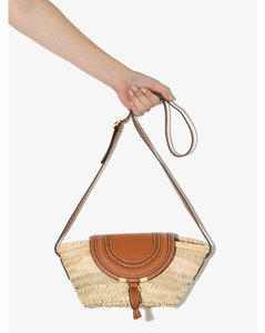brown and beige marcie straw and leather cross body bag
