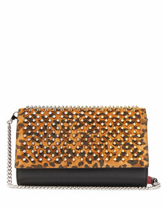 Paloma leopard-print leather clutch