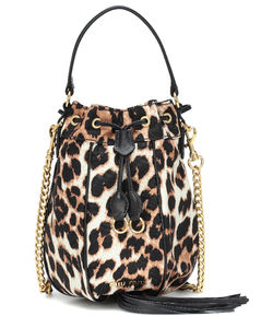 Leopard-print bucket bag