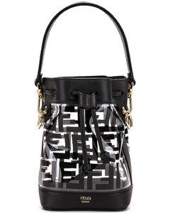 Mini Mon Tresor Logo Crossbody Bag in Black