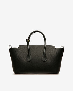 Women's medium leather tote bag in Black
