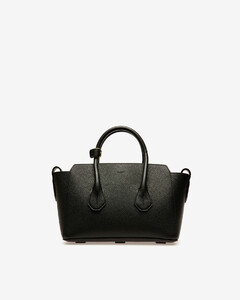 Women's small leather top handle bag in Black