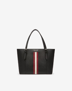 Women's leather tote in black