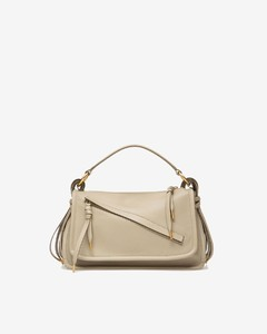 LADIES CALF LEATHER TOP HANDLE IN CAILLOU