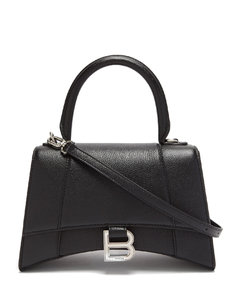 Hourglass S grained leather bag
