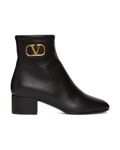 黑色Valentino Garavani VLogo踝靴