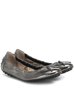 Metallic leather ballet flats