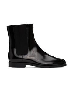 黑色Tabi漆皮切尔西靴