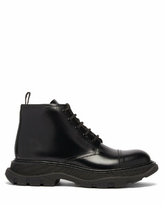 Exaggerated-sole lace-up leather ankle boots