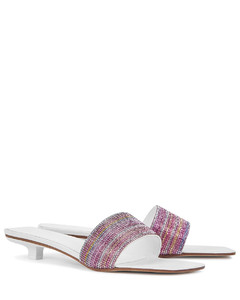 Ceni 25 crystal-embellished white leather sandals