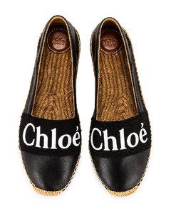 Chloe Woody Espadrille Flats in Black