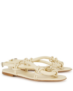 Cream knotted leather sandals