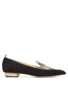 Beya python-print suede and leather loafers