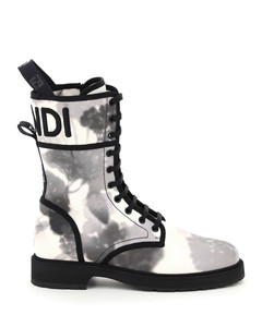 FLOWER PRINT SIGNATURE CANVAS BIKER BOOTS