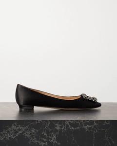 Hangisi带缀饰缎布尖头平底鞋