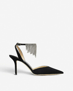 Birtie 85 crystal-embellished suede heeled sandals