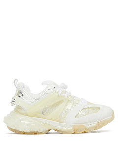 Track panelled faux-leather trainers