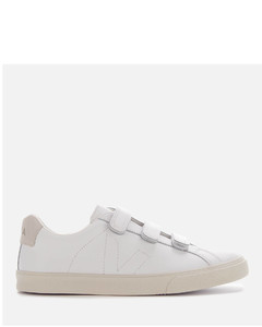 Women's 3-Lock Leather Trainers - Extra White