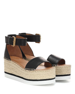 皮革防水台凉鞋
