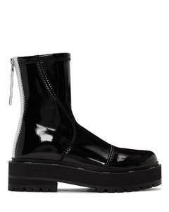 黑色漆面人造皮革机车靴