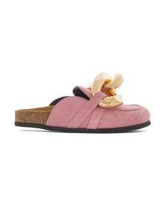 粉色Chain绒面革乐福鞋