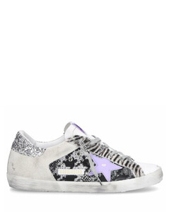 Low-Top Sneakers SUPERSTAR suede glitter pony leather Used black grey purple